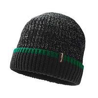 Шапка водонепроникна Dexshell Cuffed Beanie чорна  з зеленою смугою S/M 56-58 см