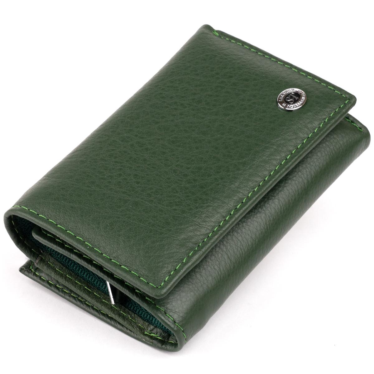 Горизонтальне портмоне зі шкіри унісекс на магніті ST Leather 19662 Зелене