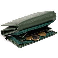 Горизонтальне портмоне зі шкіри унісекс на магніті ST Leather 19662 Зелене, фото 4