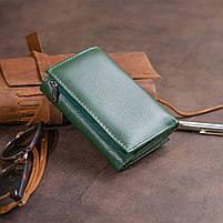 Горизонтальне портмоне зі шкіри унісекс на магніті ST Leather 19662 Зелене, фото 7