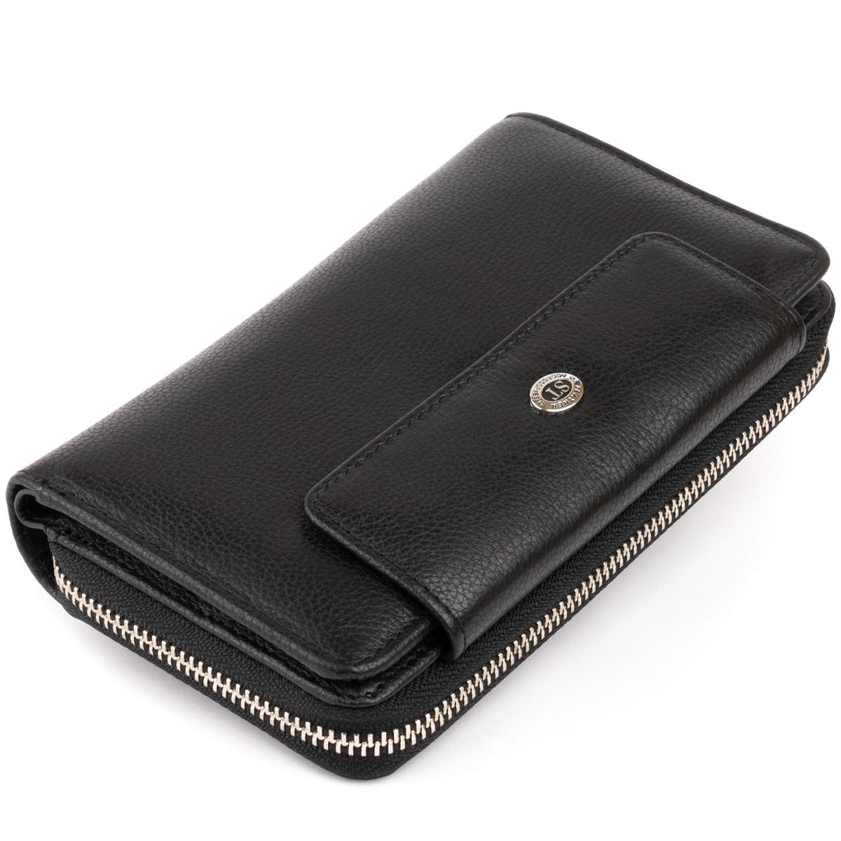 Гаманець зі шкіри на засувці ST Leather 11239 Чорний