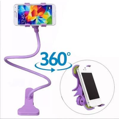 Универсальный гибкий держатель для телефонов с прищепкой фиолетовый 154058