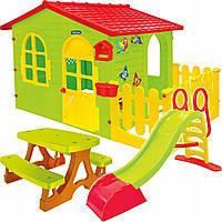 Детский домик Mochtoys 190*118*127см + горка 180 см + скамейка Польша