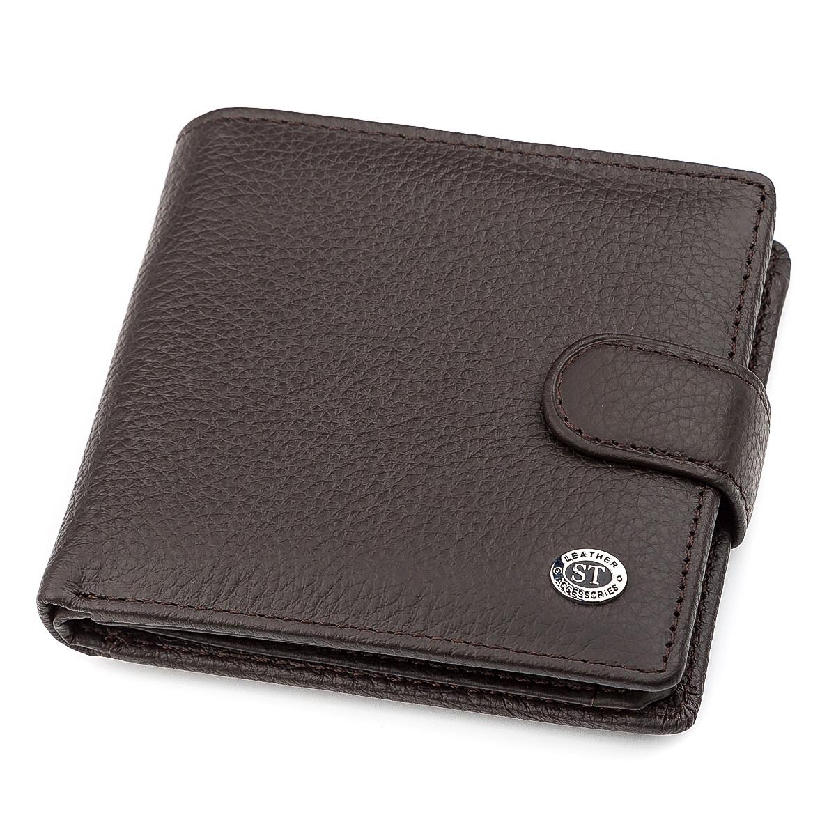 Мужской кошелек ST Leather 16447 (ST153) функциональный Коричневый