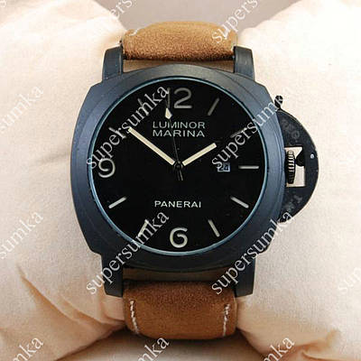Модные наручные часы Panerai Officine 1860 Black/Black-milk 3802