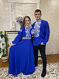 Вишите плаття кольору електрик «Біла троянда», фото 2
