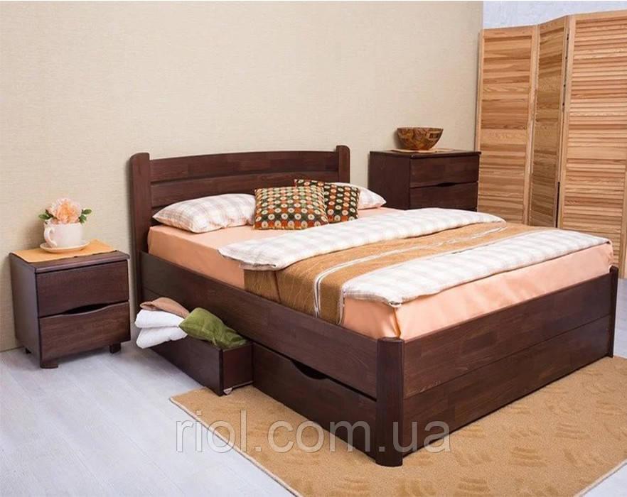 Двуспальная кровать из бука София V с ящиками ТМ Олимп