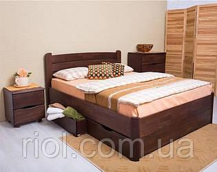 Двоспальне ліжко з бука Софія V з ящиками ТМ Олімп