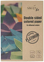Цветная бумага (двусторонняя) Platinum А4, 120/м2, 16л, SMILTAINIS~#~Кольоровий папір (двосторонній) Platinum