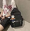 Рюкзак городской для учебы ноутбука в корейском стиле с игрушкой, фото 4