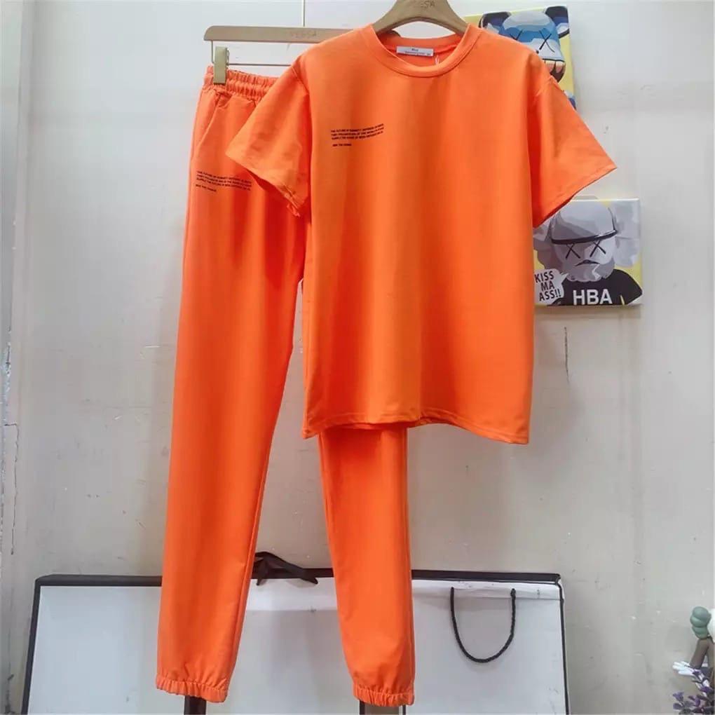 Женский спортивный костюм, двунить, р-р 42-44; 44-46 (оранжевый)
