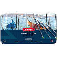 Набор акварельных карандашей Watercolour, 36шт., мет. коробка, Derwent~#~Набір акварельних олівців