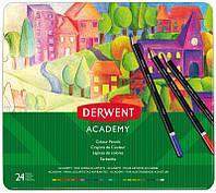 Набор цветных карандашей Academy в метал.короб. 24цв., Derwent~#~Набір кольорових олівців Colouring Academy,