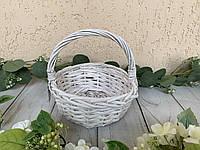 Кошик кругла плетений з лози білого кольору плетіння, фото 1