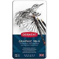 Набор графит.карандаш. Graphic Sketching Soft в мет.кообке 12шт.(мягкие) от 9B до H, Derwent~#~Набір графітних