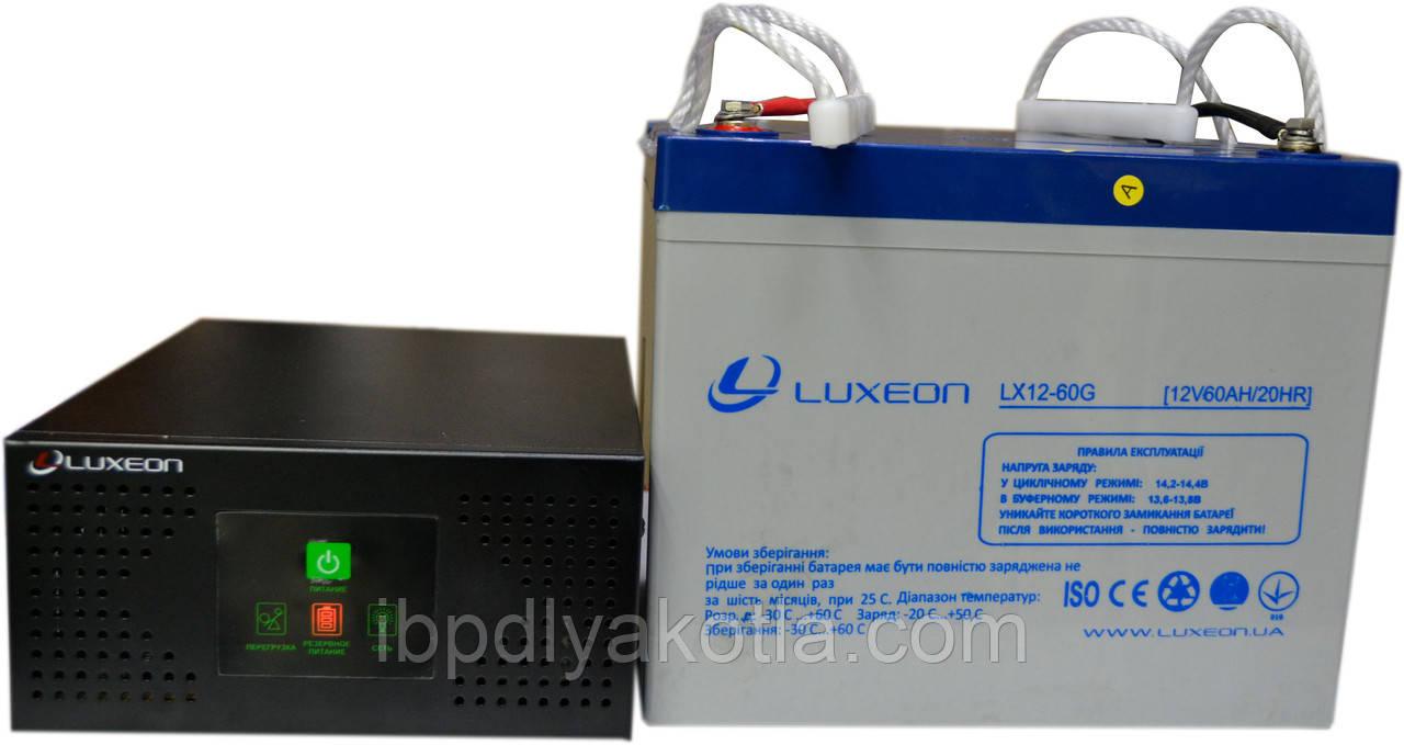 Комплект резервного питания ИБП Luxeon UPS-600NR + АКБ LX12-60G 60Ah для 5-7ч работы газового котла, фото 1