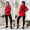 Повсякденний костюм жіночий чорно-червоний з вирізами на плечах (3 кольори) АК/-5159