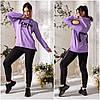 Повседневный костюм женский черно-лиловый с вырезами на плечах (3 цвета) АК/-5159