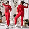 Зручний прогулянковий костюм жіночий червоний (3 кольори) АК/-5156