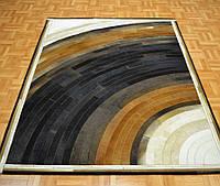Коричнево белый ковер из шкуры абстракция, фото 1