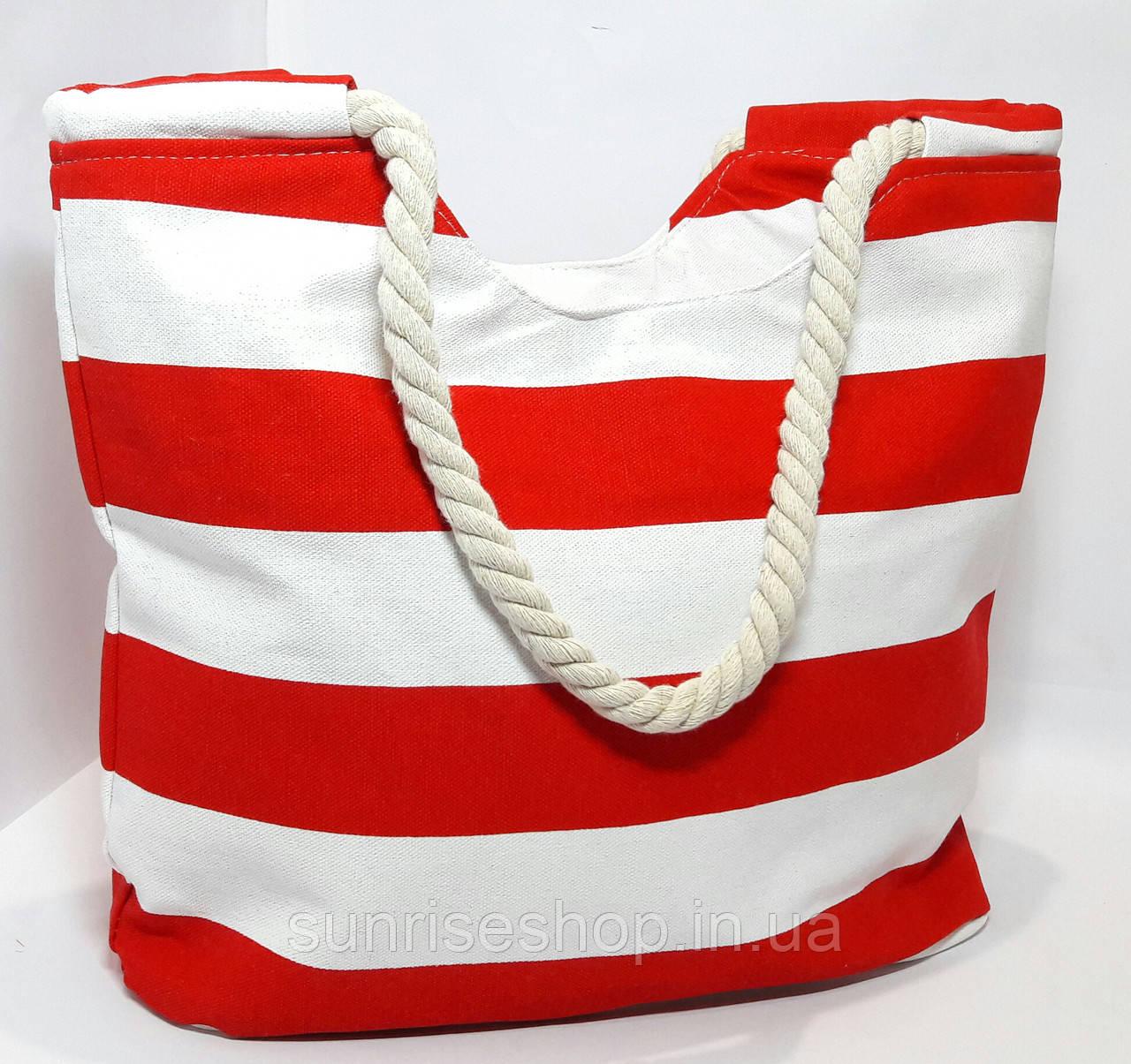 Пляжная сумка текстильная летняя красная полоса опт