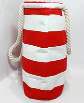Пляжная сумка текстильная летняя красная полоса опт, фото 2