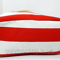 Пляжная сумка текстильная летняя красная полоса опт, фото 3