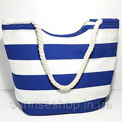Пляжная сумка текстильная летняя синяя полоса опт