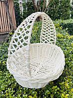Велікодній кошик білий, Плетінь кошик з лози 30х24х31