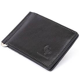 Стильное портмоне с зажимом для денег без застежки в гладкой коже GRANDE PELLE 11297 Черное