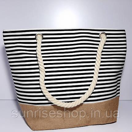 Пляжна сумка чорна смуга опт, фото 2