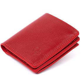Вертикальное глянцевое портмоне с накладной монетницей GRANDE PELLE 11331 Красное
