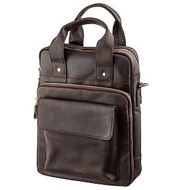 Вінтажна сумка під вертикального формату А4 в матової шкіри 11166 SHVIGEL, Коричнева
