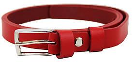 Узкий женский ремень из кожи 1,8 см Cavaldi Pd25 красный