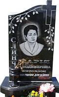 Одинарный памятник надгробие с крестом из гранита образец №33