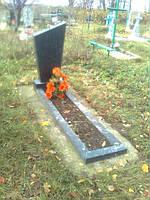 Памятник вертикальный с цветником стандартный из гранита одинарный образец №44