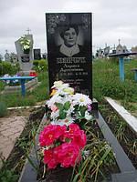 Одинарный памятник с цветником из гранита вертикальный образец №7