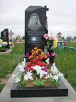 Одинарный памятник с крестом и цветником из гранита вертикальный образец №9