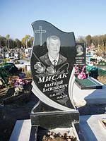 Одинарный памятник с цветником из гранита вертикальный образец №10
