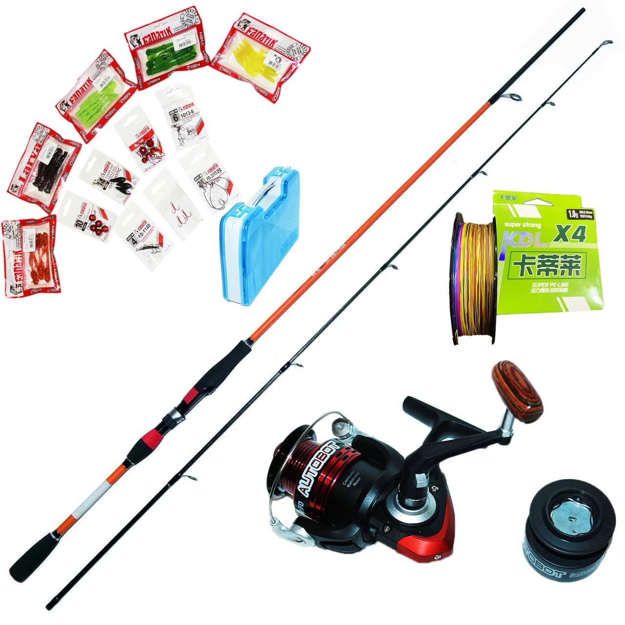 Спиннинг Набор FANATIK для ловли хищной рыбы /щука, судак, окунь/ 2.4 м