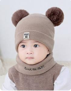Комплект шапка+хомут Moonlight коричневий 4528