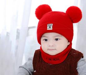 Комплект шапка+хомут Moonlight червоний 4529 1395951172