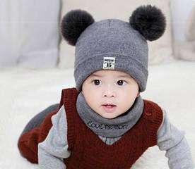 Комплект шапка+хомут Moonlight сірий 4531