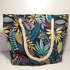 Пляжна сумка текстильна річна яскрава абстракція
