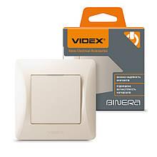 VIDEX BINERA Выключатель одноклавишный  кремовый