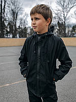 Спортивная детская куртка с капюшоном для мальчика из SoftShell черная
