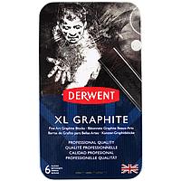 Набор угля XL Graphit 6 шт мет. коробка Derwent