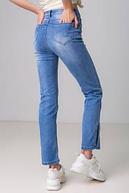 Модные голубые джинсы с разрезом сбоку и с высокой посадкой в размерах: S, M, L, XL