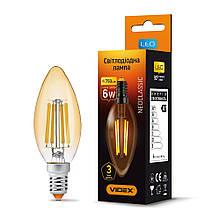LED лампа VIDEX Filament C37FA 6W E14 2200K бронза