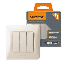 VIDEX BINERA Выключатель трёхклавишный кремовый